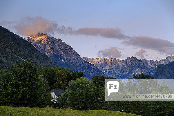 Slovenia  Julian Alps  Triglav mountains  Soca Valley  near Bovec  Mountain Vrh Krnice  hidden house