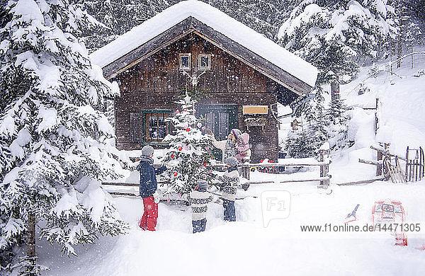 Österreich  Altenmarkt-Zauchensee  Familie schmückt Weihnachtsbaum am Holzhaus