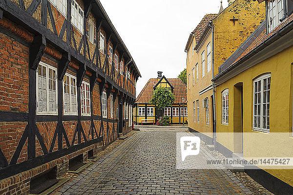 Dänemark  Jütland  Ribe  malerische Gasse mit Fachwerkhäusern