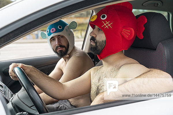 Gay couple in a car wearing animal hats