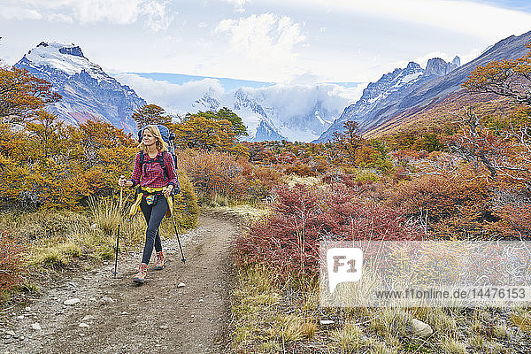 Argentinien  Patagonien  El Chalten  Frau beim Wandern am Cerro Torre im Nationalpark Los Glaciares
