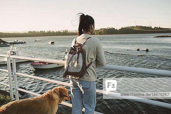 Woman looking at the sea with her dog