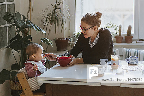 Mother feeding baby in kitchen at home