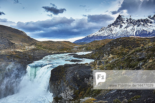 Chile  Torres del Paine National park  Cascada del Rio Paine  Salto Grande Waterfall in front of Torres del Paine massif