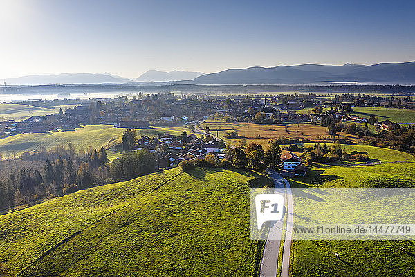 Germany  Bavaria  Foothills of the Alps  Toelzer Land  Aerial view of Sachsenkam