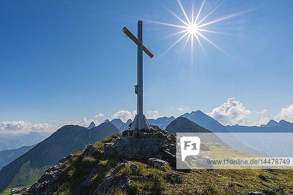 Germany  Bavaria  Allgaeu  Allgaeu Alps  summit cross on Hochrappenkopf