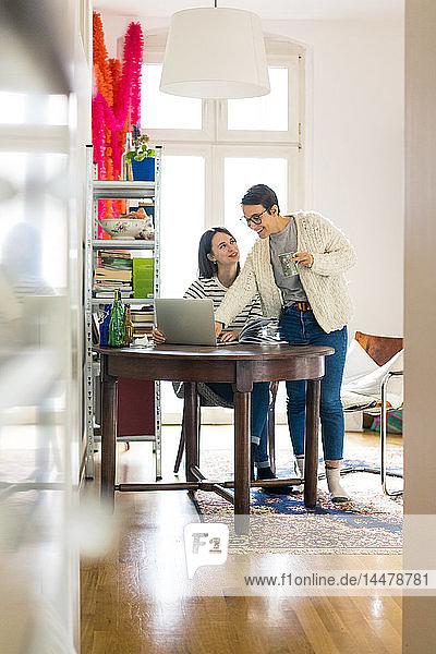 Zwei Freundinnen zu Hause  die sich unterhalten und einen Laptop benutzen