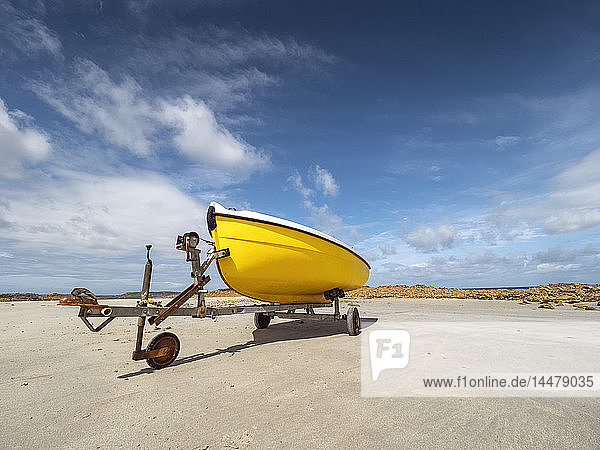 France  Bretagne  Cote de Granit Rose  boat trailer and yellow boat