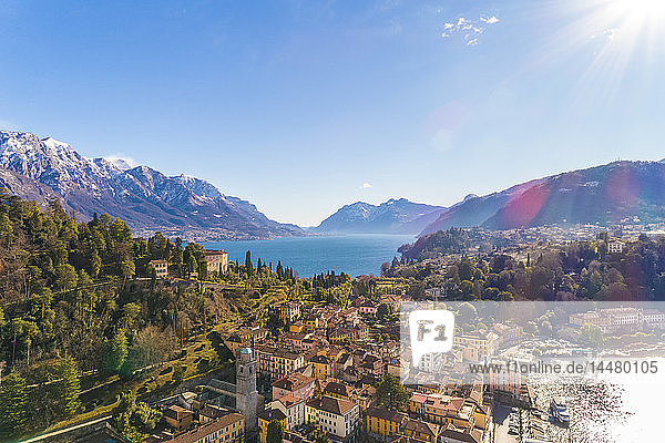 Italy  Lombardy  Aerial view of Bellagio and Lake Como