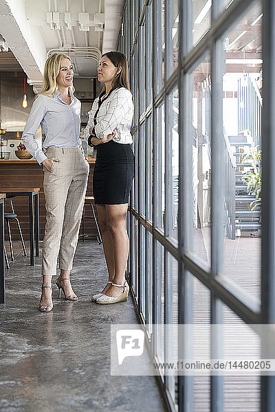 Two female colleagues talking in cafe in front of windows