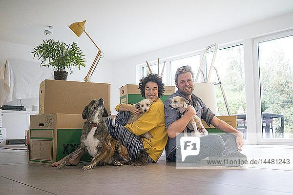 Glückliches Paar sitzt im Wohnzimmer mit Hunden und Pappkartons
