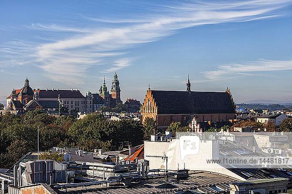 Poland  Krakow  historic city center cityscape with Wawel Castle and Holy Trinity Church