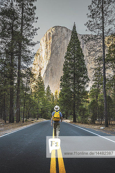 USA  California  Yosemite National Park  man walking on road with El Capitan in background