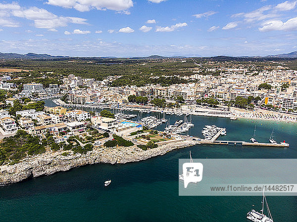 Spain  Balearic Islands  Porto Cristo  Aerial view of natural bay of coastal town in summer