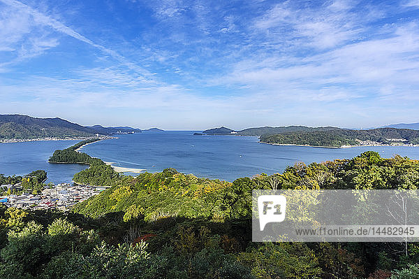 Japan  Kyoto Prefecture  view on Amanohasidate with sandbar and sea