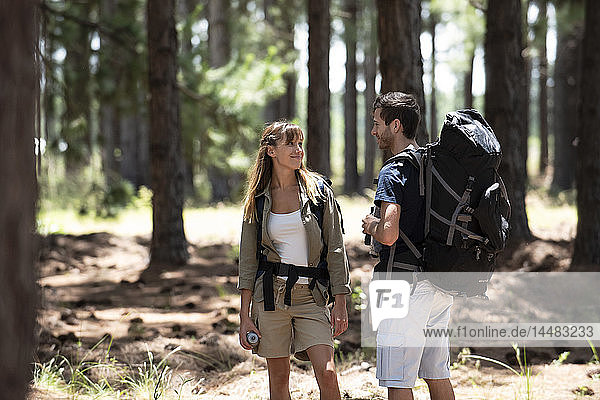 Smiling young couple standing in pine forest