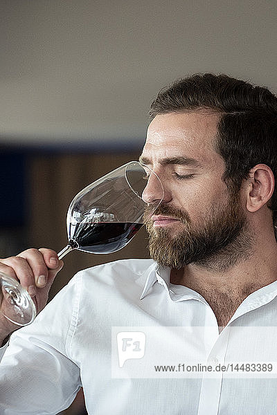 Close-up of mid adult man smelling red wine