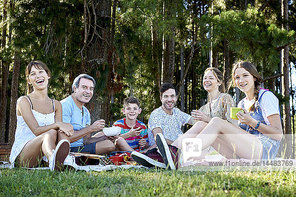 Portrait of family enjoying picnic