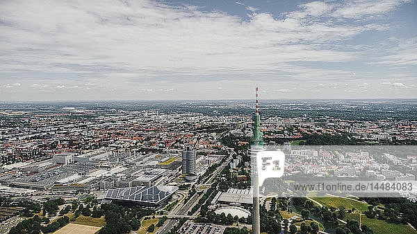 Drone point of view sunny Munich cityscape  Bayern  Germany