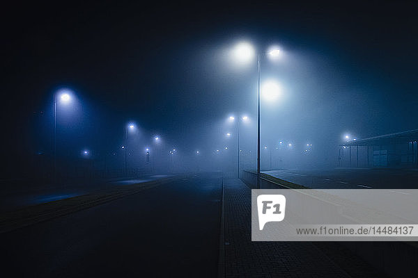 Street lamps illuminated over foggy  vacant road