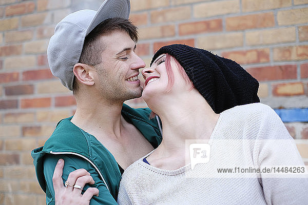 Affectionate  happy young couple