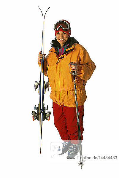 Woman with Downhill Ski Gear