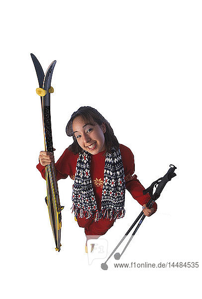 Native Woman with Cross-country Ski Gear