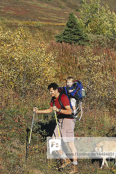 Family hiking w/dogs Chugach State Park Eagle River Valley Southcentral Alaska Autumn