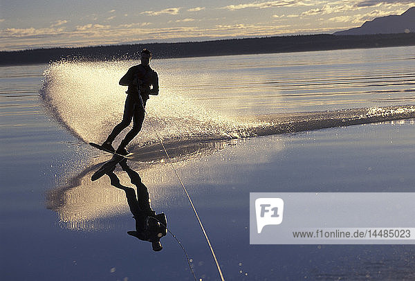 Person Wakeboarding on Naknek Lake Katmai NP AK