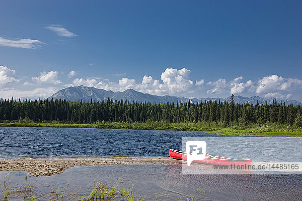 Red canoe on the shore of Byers Lake  Summer  Denali State Park  Southcentral Alaska