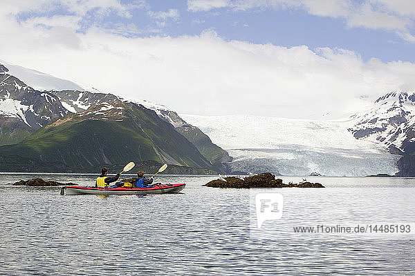 Two kayakers paddling toward Aialik Glacier in Aialik Bay within Kenai Fjords National Park summer Southcentral Alaska