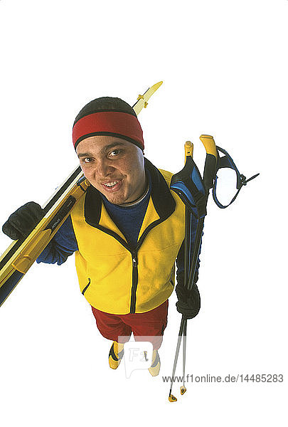 Man with Cross-country Ski Gear