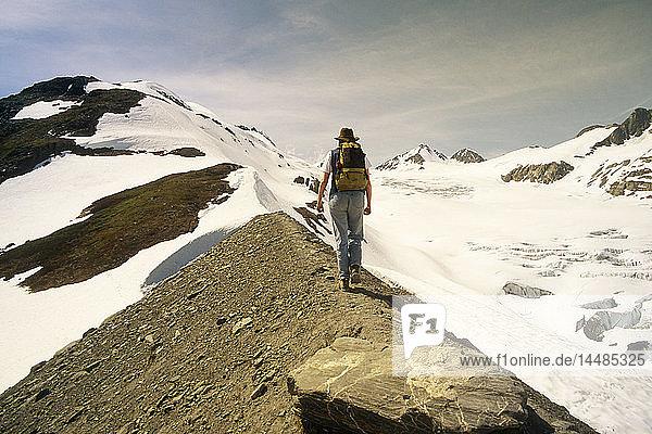 Woman Hiker Morain Trail Worthington Glacier SC AK