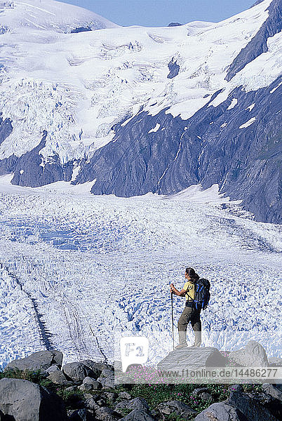 Couple Hiking at Portage Pass w/view of Glacier AK