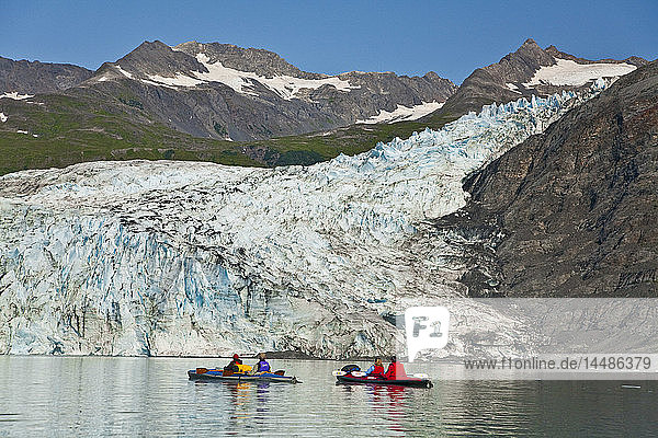 Two couples kayaking in Upper Shoup Bay with Shoup Glacier background  Shoup Bay State Marine Park  Prince William Sound  Alaska