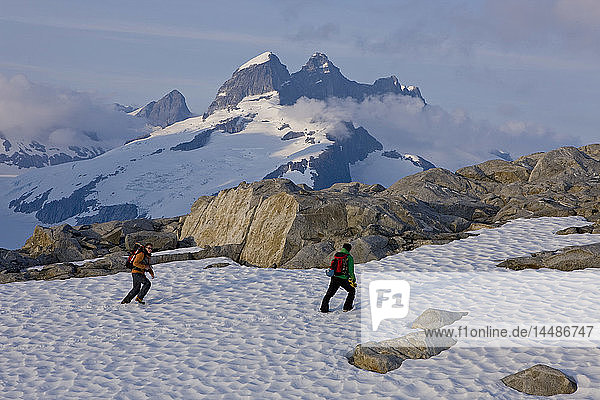 Hikers climb in the afternoon sun on a ridge above the Juneau Ice Field  Juneau  Alaska  Tongass National Forest