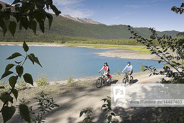 Mother & Son Mtn Bike Along Eklutna Lake Chugach SP AK SC Summer Chugach Mtns