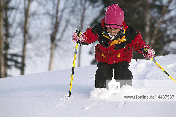 Young Girl Cross-Country Skiing Winter SC AK