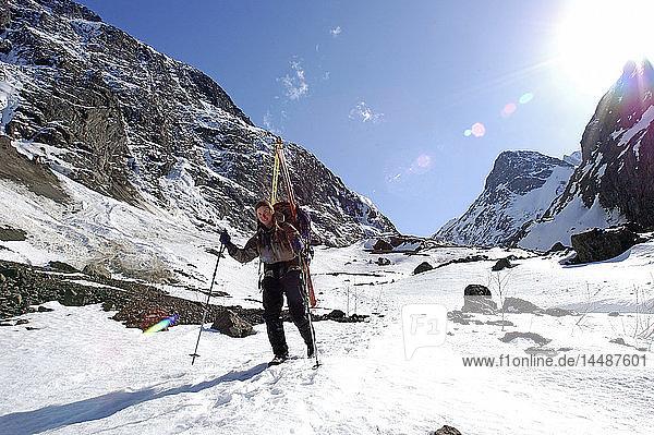 Women Mountaineers Descend Eklutna Glacier SC Alaska Spring Chugach Mtns