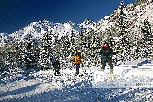 Women Skiing Near Sheep Mountain Lodge SC Alaska