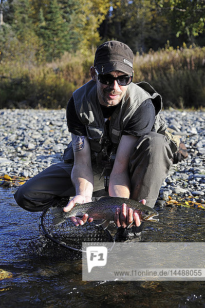 Man kneeling to show off a Rainbow Trout caught in Deep Creek  Kenai Peninsula  Southcentral Alaska  Autumn