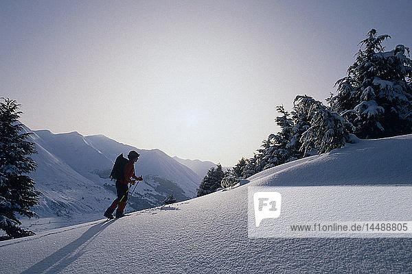 X-country skier Chugach Mtns Summit Lake Kenai Penn Ak