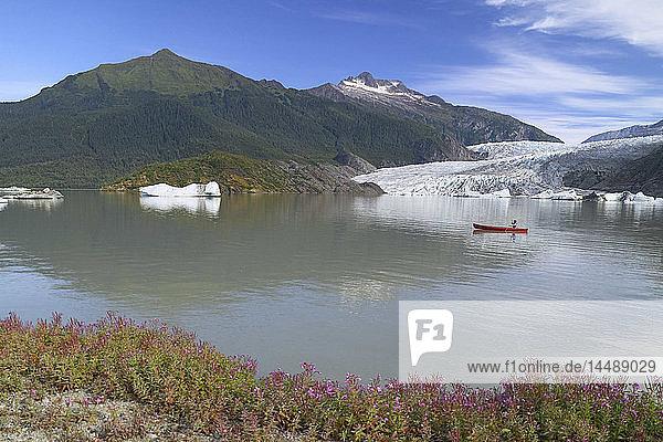 Canoeist on Mendenhall Lake SE Alaska Summer w/Mendenhall Glacier in Background