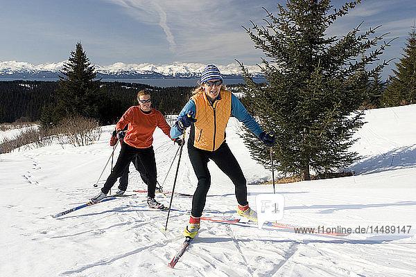 Group of nordic skiers at Baycrest ski trails Homer Alaska Kenai Peninsula