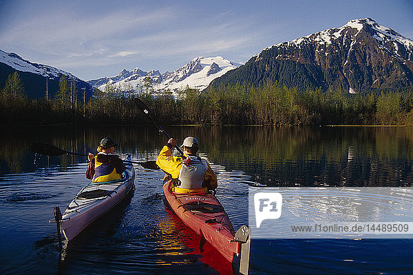 Kayakers Together on Mendenhall Lake SE Alaska Summer Mendenhall Glacier Coast Mtns near Juneau