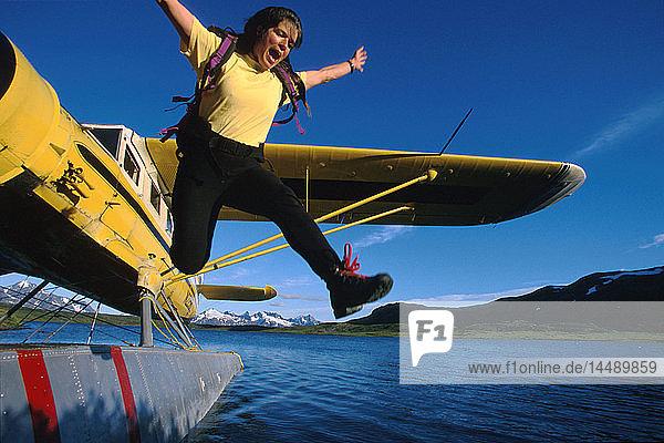 Hikers Jumping From Floatplane Lost Lake KP AK