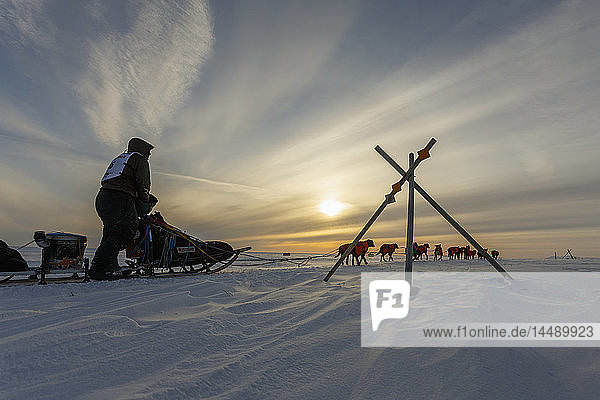 Ken Anderson passes a tripod trail marker on several miles from the Nome finish during Iditarod 2015