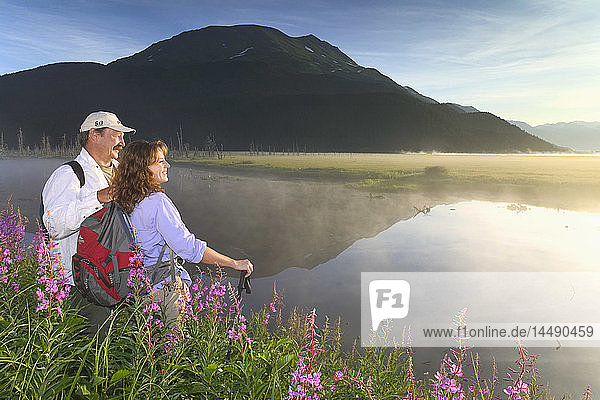 Couple Hiking @ Sunrise 20 Mile River in Fireweed AK SC Summer