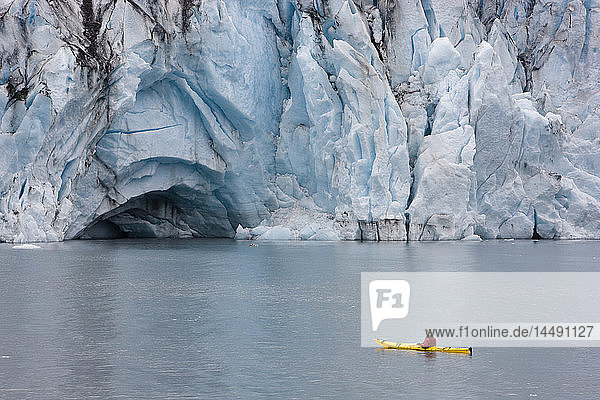 Man kayaking in Shoup Bay with Shoup Glacier in the background  Shoup Bay State Marine Park  Prince William Sound  Southcentral Alaska