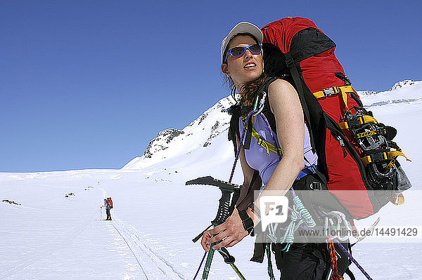 Woman Mountaineer Ascends from Eagle to Whiteout Glacier SC AK Spring